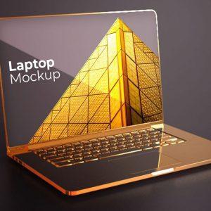 موکاپ لپ تاپ طلایی