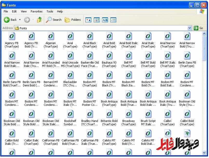 آموزش نصب فونت در ویندوز Xp